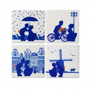 Heinen Delftware Luxury coasters - Pottery - Dutch kiss couple