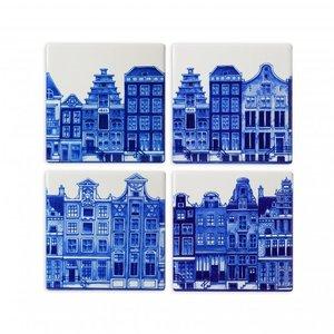 Heinen Delftware Luxe onderzetters - Aardewerk - Gevelhuisjes - Delfts blauw