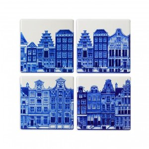 Heinen Delftware Luxury coasters - Pottery - Facade houses - Delft blue