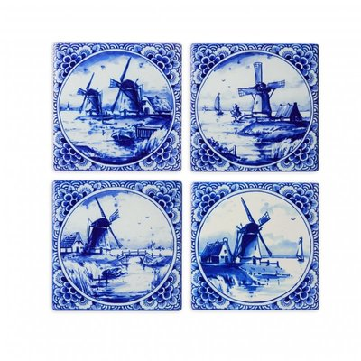 Typisch Hollands Luxus-Untersetzer - Keramik - Mühlen - Delfter Blau