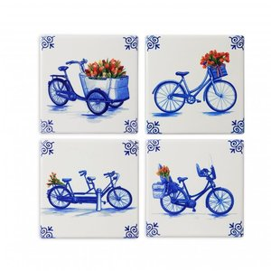 Heinen Delftware Luxury coasters - Pottery - Cycling - Modern