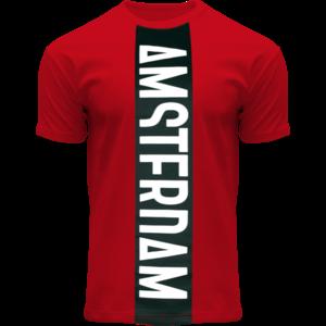 Holland fashion T-Shirt - Rood- Zwart Amsterdam - Vertical Cut