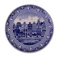Delfts blauw - Wandbord - Amsterdam grachtengordel.