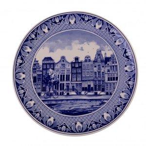 Typisch Hollands Delfts blauw - Wandbord - Amsterdam grachtengordel.
