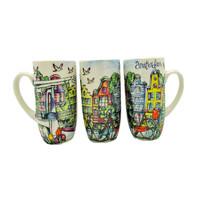 Typisch Hollands Geschenkset mit 3 Kaffeetassen - Amsterdam