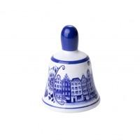 Typisch Hollands Tafelbel klein grachtenhuizen - Delfts blauw