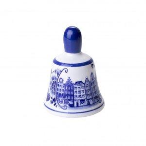 Heinen Delftware Tafelbel klein grachtenhuizen - Delfts blauw
