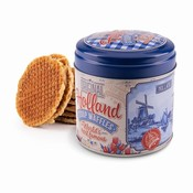 Typisch Hollands Stroopwafels in nogstalgisch - Delft blue checkered tin - Holland