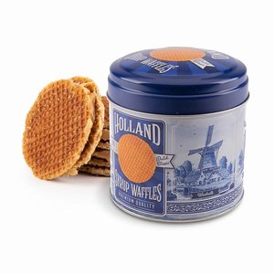 Typisch Hollands Stroopwafels in nogstalgisch - Delft blue tin - Holland