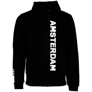 Holland fashion Hooded Zip sweater - zwart - (Collegiate) Amsterdam