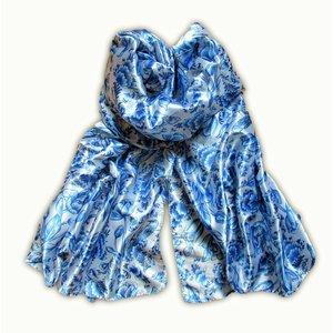 Typisch Hollands Dames-sjaal Holland- Satijn - Sjaal -  Delfts blauw