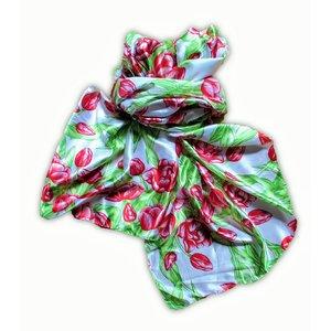 Dames-sjaal Holland- Satijn - Sjaal -  Rode tulpen
