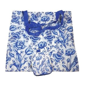 Typisch Hollands Bag - Foldable Delft blue - Tulips