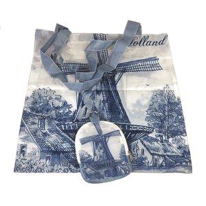 Typisch Hollands Nylon-Tasche - Faltbare -Delfts blau