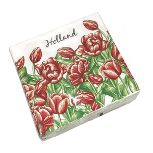 Typisch Hollands Holland servetten met rode Tulpen