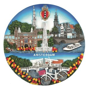Typisch Hollands Amsterdam - Wandbord - Full Color 20cm