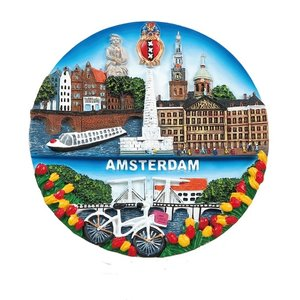 Typisch Hollands Amsterdam - Wandbord - Full Color 13cm