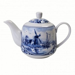 Typisch Hollands Delfter blaue Teekanne Holland-Mühllandschaft