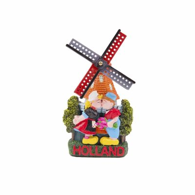 Typisch Hollands Magneet  - molen kussend paartje Holland