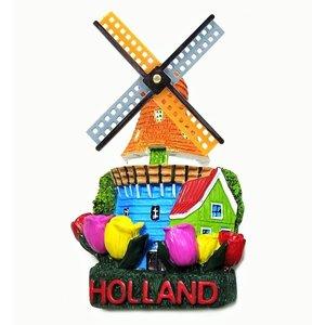 Typisch Hollands Magneet molen & tulpen Holland