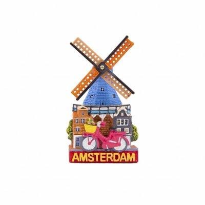 Typisch Hollands Typisch Holland - Giftshop - Magneet polystone molen & fiets Amsterdam