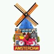 Typisch Hollands Typisch Holland - Giftshop - Magnet Polystone Mühle & Fahrrad Amsterdam