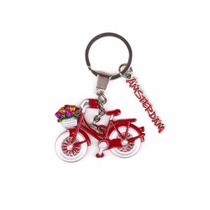 Typisch Hollands Keychain bicycle red with charm Amsterdam