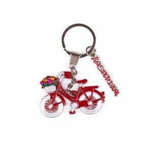 Typisch Hollands Sleutelhanger fiets rood met bedel Amsterdam
