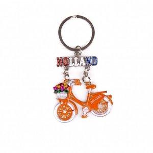 Typisch Hollands Sleutelhanger fiets oranje hangend Holland glitter