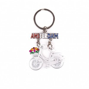 Typisch Hollands Keychain bicycle white hanging Amsterdam glitter