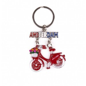 Typisch Hollands Keychain bicycle red hanging Amsterdam glitter
