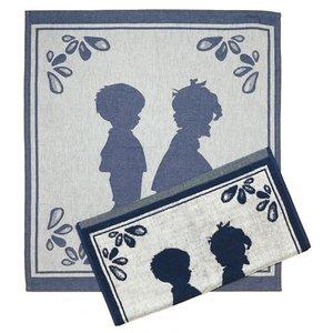 Typisch Hollands Küchentextilset - Denimfarbe - Boy & Girl