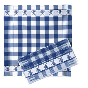 Typisch Hollands Keukentextielset -  Blauw - Molens - Ruitjes