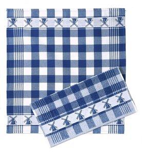 Typisch Hollands Küchentextilienset - Blau - Mühlen - Karo
