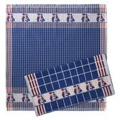Typisch Hollands Keukentextielset -  kussend paar blauw