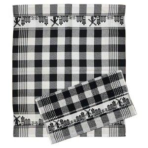 Typisch Hollands Küchentextil-Skyline schwarz + weiß