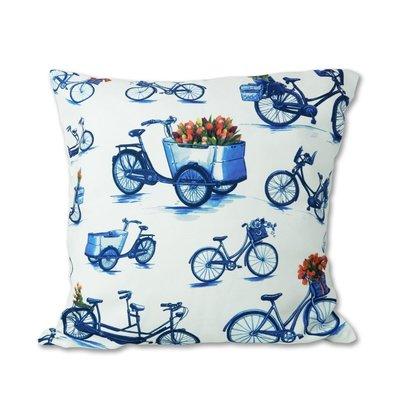 Typisch Hollands Kussenhoes - Fietsen - Modern Delfts blauw