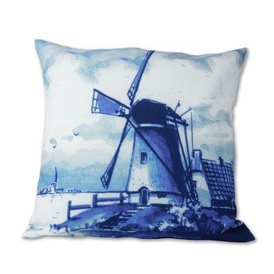 Typisch Hollands Kussenhoes - Klassiek Molenlandschap - Delfts blauw .