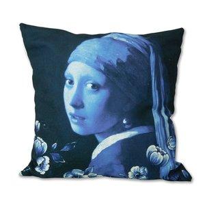 Heinen Delftware Kussenhoes -  Delfts blauw  - het meisje met de parel