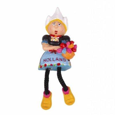 Typisch Hollands Magneet Holland  klederdracht -dame met bungelbeentjes