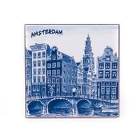 Typisch Hollands Dekorfliese 10 x 10 cm Delfter Blau Amsterdam
