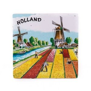 Typisch Hollands Siertegel gekleurd - Holland Tulpen  15 x 15 cm
