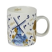 Typisch Hollands Holland koffie-theemok - Tulpen en molendecoratie - goud-blue