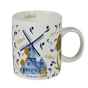 Typisch Hollands Holland coffee tea mug - Tulips and mill decoration - gold-blue