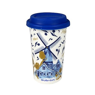 Typisch Hollands Coffee to go mug - Amsterdam Holland -Gold-Blue