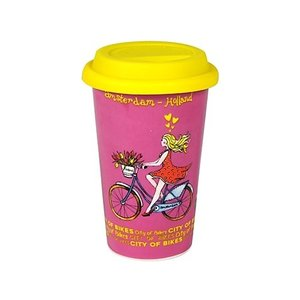 Typisch Hollands Reisekaffee - Travelmug Tulpen - Pink