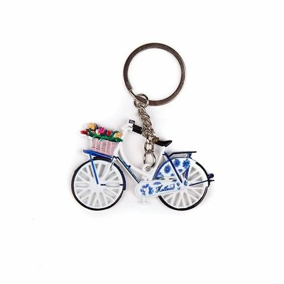 Typisch Hollands Keychain - Bicycle with Tulips - Delft blue
