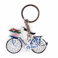 Typisch Hollands Schlüsselanhänger - Fahrrad mit Tulpen - Delfter Blau