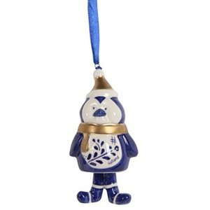 Typisch Hollands Christmas pendant Penguin with hat Holland blue gold