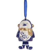Typisch Hollands Weihnachtsanhänger Pinguin mit Schal Holland blau gold.